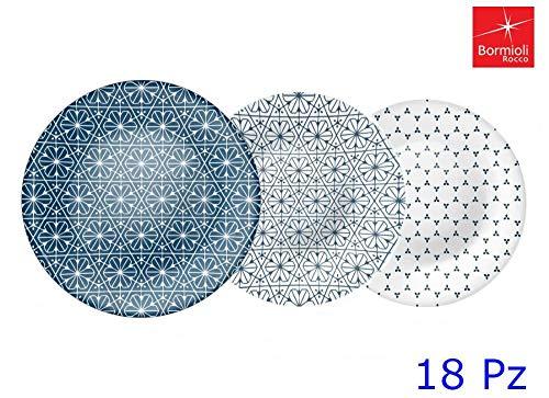 Bormioli Vajilla acqua maiolica Opal Azul 18 pzas