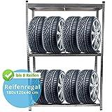 Reifenregal für 8 Reifen, 180 x 120 x 40 cm, mit Kantenschutz, 1 Boden aus MDF Holz max. 200 kg, Reifenständer Werkstattregal Schwerlastregal Lagerregal