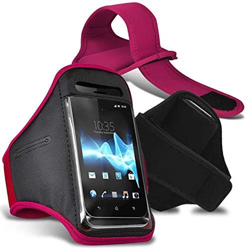 [XXL, Rosa Oscuro] Deporte Brazalete Impermeable Aptitud Gimnasio Soporte Teléfono para Sharp Aquos S3 Mini
