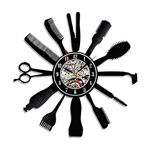 Basisago Reloj de Pared Creativo de Silenciosas, Estilo de Disco de Vinilo, Decorativo para Sala de Estar, Peluqueria, Habitación
