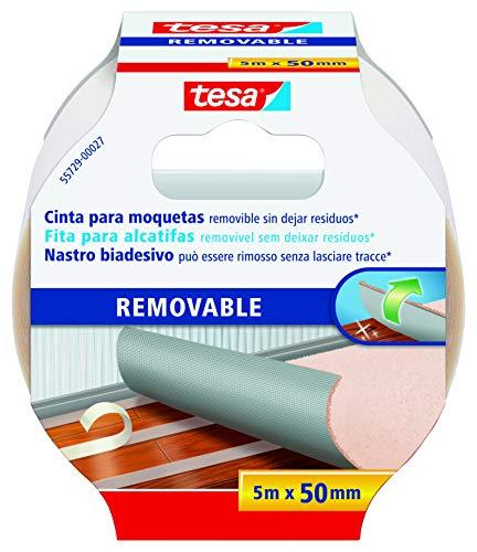 tesa 55729 Suelos, Adhesiva, diseñada para no Dejar Rastro al retirarse, la Cinta Doble Cara moquetas removible Fija alfombras y PVC, blanco