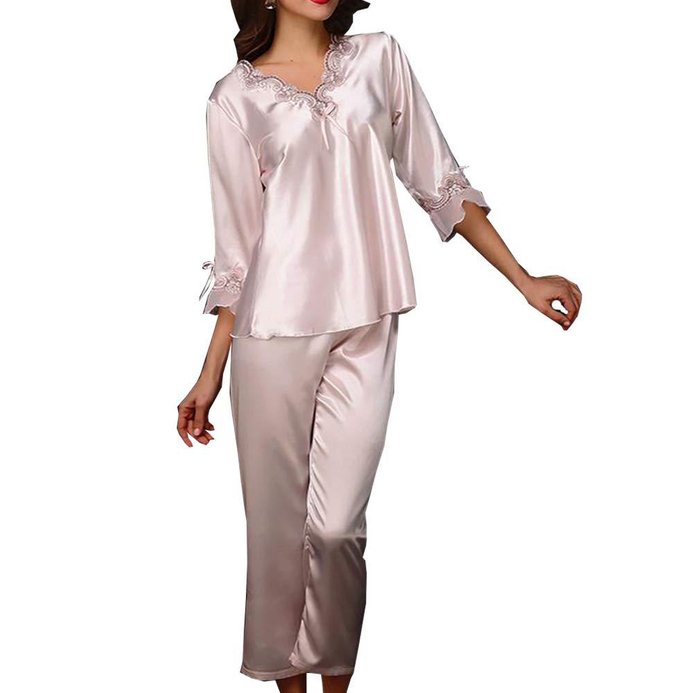 Elégant Ensemble de Pyjama Satin 2 Pièce T-shirt à Manche Longues + Pantalons Lingerie Vêtement de Nuit Bordé Dentelle Col-V Chemise de nuit