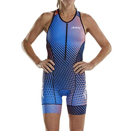 Zoot Damen Triathlon Rennanzug Style Stoke ohne Ärmel, mit Sitzpolster, integriertem BH, reflektierenden Elementen, LSF 50+, DREI Rückentaschen und Frontzipper Größe L