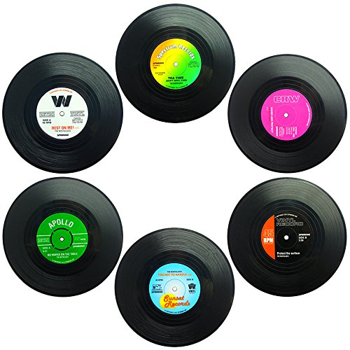 Senhai Set di 6 sottobicchieri, Retro Vinyl Record Tappetini tovagliette per Il Freddo Bevande Calde, Anti-Skid Tavolo Protection previene Lo Slittamento - 4.1'