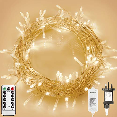 STARKER 100 LEDs Fairy String Lights Plug in, 8 Mode Indoor Christmas Lights with Timer(Dimmable, Clear Cable, Low Voltage Plug, Warm White)for Bedroom Party Wedding- IP65 Waterproof