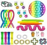 Juego de juguetes antiestrés de 20 a 31 paquetes, cadenas, juguetes antiestrés con Pop it, Squeeze a Bean, bolas antiestrés, juguetes para aliviar la ansiedad para niños y adultos