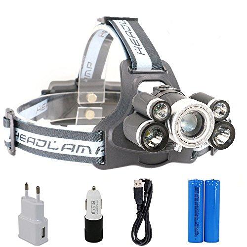 Boruit LED Kopflampe USB Wiederaufladbar Stirnlampe Taschelampe Upgrade Headlight 3 *XML-T6+2*R2, Superhell 4000LM mit 5 Lichtmodi Wasserdicht IPX-64 für Camping, Mountainbiking, Fischerei, Jagd usw