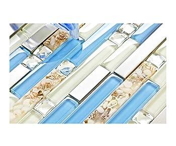 TST Glass Inner Conch Tile Beach Style Blue Cream White Brushed Steel Art Mosaic Kitchen Backsplash Bath Decor TSTNB06  1 Sample 12x12 Inches