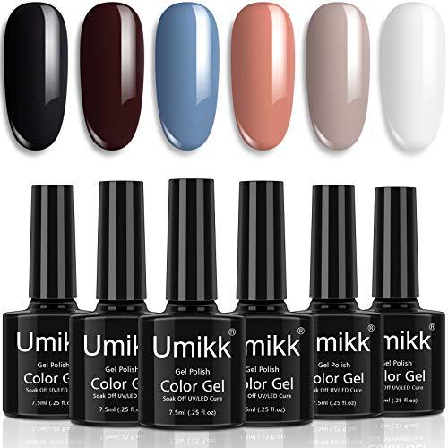 Umikk Gel Smalto per Unghie Set Violaceo Nero Bianco Beige Corallo Blu Polveroso Marrone Scuro 6 Colori 7.5 ml Soak Off UV LED Cura per Nail Art Manicure Pedicure