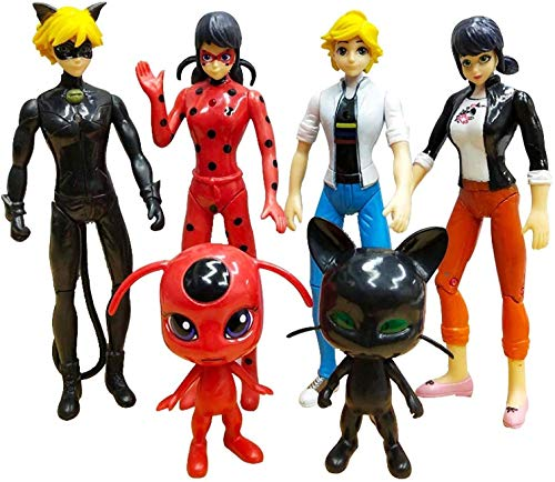 6 pcs Ladybug Action Figure - Ladybug and Cat Noir Miraculous Action Figures - Miraculous Ladybug Toy Set Minifigures - Ladybug Tikki Doll 6 Set Toys
