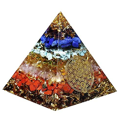 YORFULL Piramide in orgonite con Simbolo del Fiore della Vita, Protezione EMF Contro Le Radiazioni, Piccola con Cristallo di Rocca Come Decorazione per la casa
