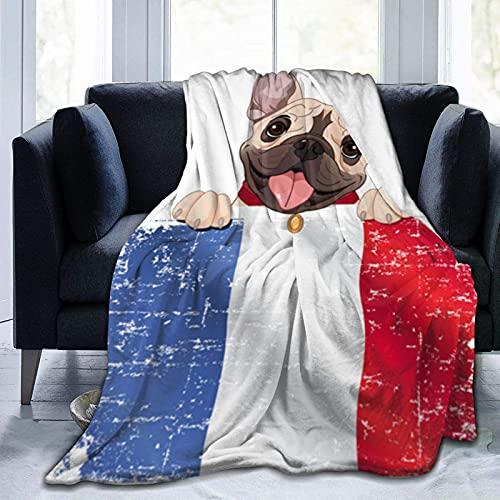 Manta de Felpa Suave Cama Bulldog francés sostiene Bandera Francesa Manta Gruesa y Esponjosa Microfibra, Suave, Caliente, Transpirable para Hogar Sofá , Oficina, Viaje