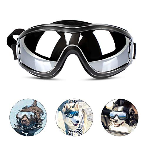 PEDOMUS Dog Sunglasses Dog Goggles Adjustable Strap for Travel Skiing and Anti-Fog Dog Snow Goggles...