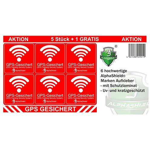 6 pegatinas para GPS para interior o exterior, para bicicleta, motocicleta, maquinaria de construcción, coche, camión, alarma, antirrobo, seguro R048 (adhesivo exterior).