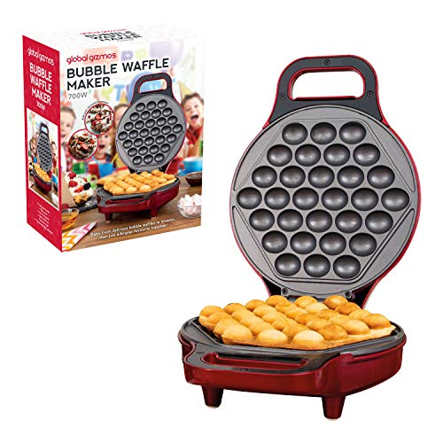 Global Gizmos 35539 700W Bubble Waffle Maker, Plastic, 180° Dual Sided...
