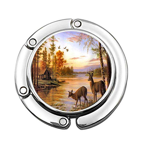 Dos Ciervos de Agua Potable con Chalet Junto al río, Varios diseños Personalizados, Bolso de Hombro, Bolso Plegable, Gancho para Colgar