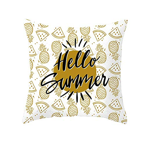 Socoz Funda decorativa de cojín, funda de cojín de sofá, 45 x 45 cm, funda de cojín de Hello Summer Sandía Piña estilo 29