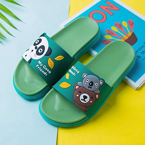 Antideslizantes Chanclas y Sandalias,Zapatillas de plataforma antideslizantes, sandalias de dibujos animados para el hogar de interior-Verde 8_36-37,Zapatillas de Piscina Antideslizantes Unisex