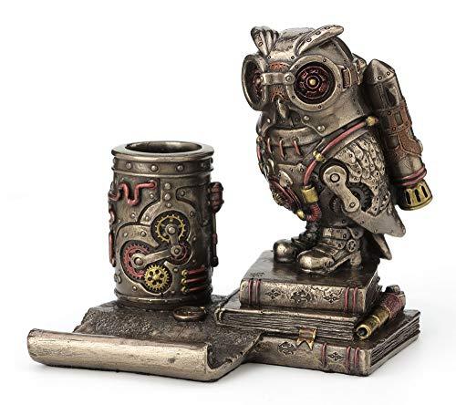 Veronese Design 5 Inch Steampunk Owl Cell Phone Stand Pen Holder Antique Bronze Finish Statue