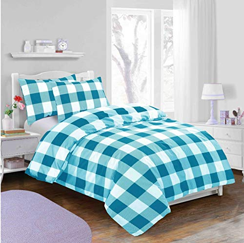 Abeera Linens Classic Duvet Cover- Check Printed | 100% Rich Cotton | Quilt COVER BEDDING Set With Pillowcase Pair | Easy Care Bedding Set | SINGLE | DOUBLE | SUPER KING SIZE (Teal, Super King)