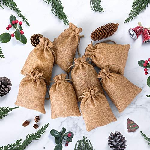 Naler 20 x Jutesäckchen Khaki Jute Beutel für Adventskalender Stoffbeutel Natur Säckchen Geschenksäckchen - 10 x 14 cm