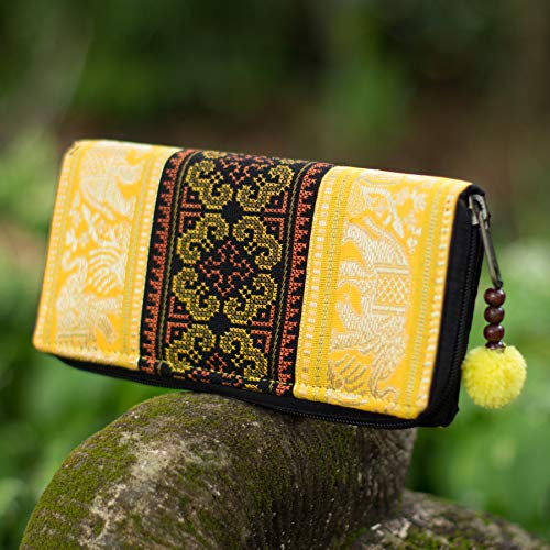 Changnoi Hill Tribe Hmong Embroidered Wallet, Yellow Elephant Boho Purse for Women with Pom Pom Zip Pull