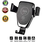 Dkaile Wireless Charger Car Mount, One-Hand Auto Clamping Air Vent Phone Holder, 10W Fast Charging for Samsung Galaxy S9 S8 S7 Note 8. 7.5W Compatible with iPhone Xs XR X 8 and Qi Enabled Devices.