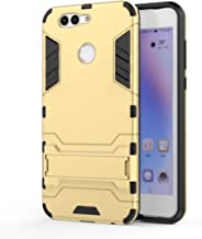 LIWIN-Smartphone Cases Phone Protective Case for Huawei Nova 2 Plus Shockproof PC + TPU with Holder Lightweight Wear-Resistant Comfortable (Color: : Gold)