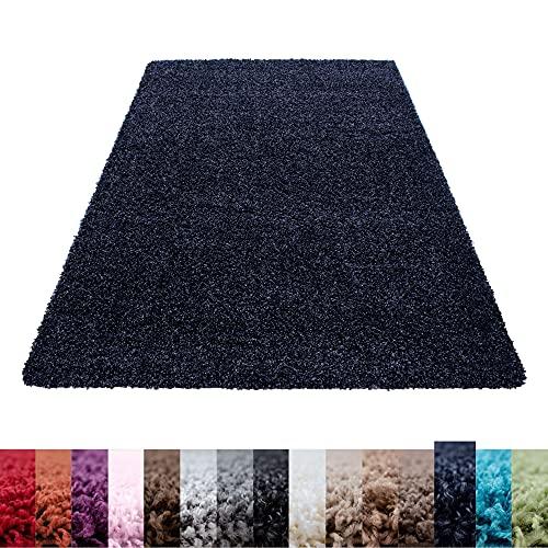 Carpettex Teppich Tapis Shaggy à Poils Longs Couleur Unique differentes Couleurs et Tailles Disponible - Bleu Marin, 120x170 cm