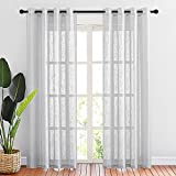 NICETOWN Linen Sheer Curtains for Living Room, Grommet Modern Semi Sheer Window Treatments Vertical Drapes Privacy with Light Filtering, Silver Grey, 2 Panels, 1 Pair