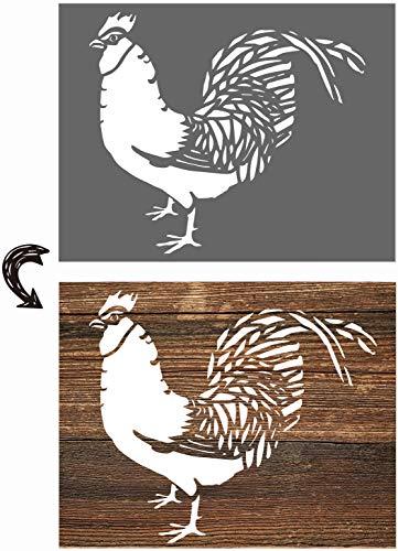 vizuzi Dekor-Schablonen mit Huhn-Motiv, rustikales Bauernhaus, inspirierende Vorlage zum Bemalen von Holzböden, Möbeln, Papier, Fenstern, Glastüren, Wandschildern