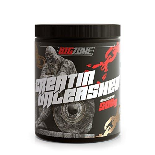 Big-Zone Creatin unleashed Kreatin 100% Monohydrat (Creapure) reines Pulver Muskelaufbau/Fitness/Nahrungsergänzung | GMO free Laktose- und Glutenfrei | 500g