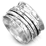 Boho-Magic 925 Sterling Silver Spinner Ring for Women 3 Fidget Rings Band Wide Hammered (9)
