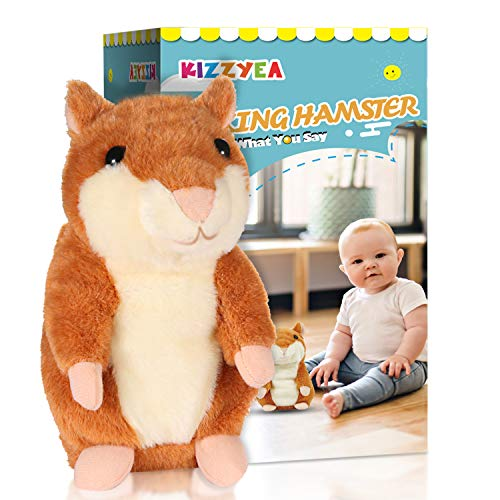 KIZZYEA Bigger Talking Hamster - Repeats What You Say - Interactive Stuffed Plush Animal Talking Toy - Fun Gift for 2,3 Year Old Girls,Baby, Kids, Toddlers