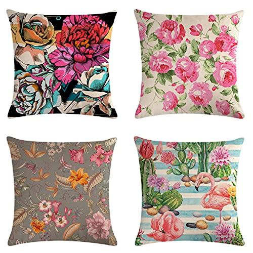 JOVEGSRVA Juego de 4 fundas de almohada decorativas con diseño de flamencos de flores, 45 cm x 45 cm