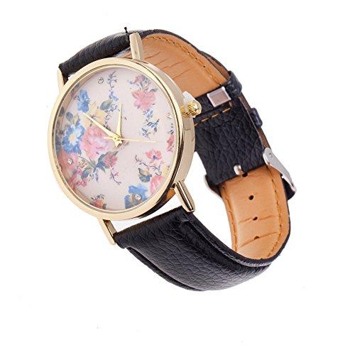 Hebilla de reloj de cuarzo mujer de gran calidad, diseño Vintage, color negro con banda sintética, carcasa color dorado y visualización con motivos de flores rosas VAGA y que