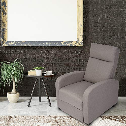 Adjustable Fabric Recliner Chair Ergonomic Recliner Sofa Easy Assemble Padded Seat Assemble w/Thick Cushion & Backrest Modern for Living Room Home Theater Bedroom Grey
