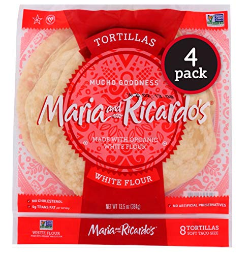 Maria & Ricardo's White Flour Tortillas. (3 Pack) Non GMO PV, Vegan, Kosher. Made with Organic Ingredients. 8 Tortillas per Pack