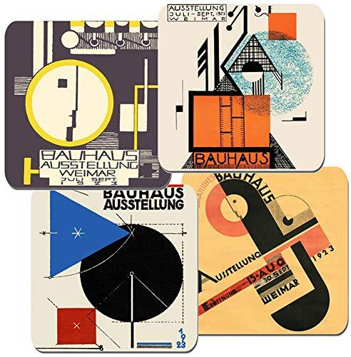 Funkyzilla Bauhaus Ausstellung Weimar 1923 Poster Untersetzer 4er Set. Hochwertiger Kork.