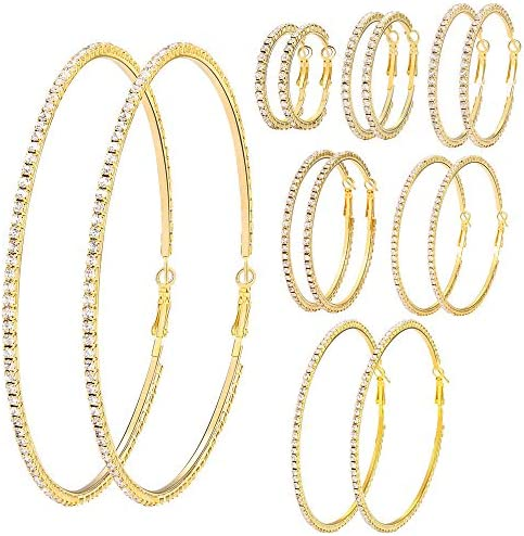 7 Pairs Gold Silver Big Shiny Crystal Hoop Earrings Set 3 10cm Large Round Party Earrings Set product image