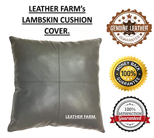 Find Bargain LEATHER FARM Thick Genuine Leather Pillow Cover Grey Decorative for Couch Throw Pillow ...
