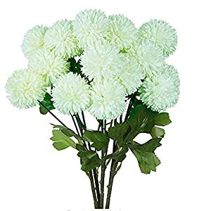 XIZHI 5 Flowers 3 Heads Artificial Hydrangea Flowers Fake Silk Dandelion Flowers, Artificial Onion Flower Ball, Artificial Chrysanthemum Ball DIY, Home Decoration Wedding Bouquet (Green)