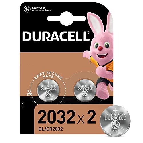 Duracell - 2032 Batteria Bottone al litio 3V, confezione da 2, con Tecnologia Baby Secure per l uso su chiavi con sensore magnetico, bilance, elementi indossabili (DL2032 CR2032)