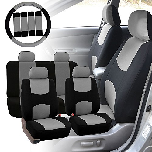FH Group FB050114 Flat Cloth Seat Covers (Gray) Full Set with Gift – Universal Fit for Cars Trucks  Iowa