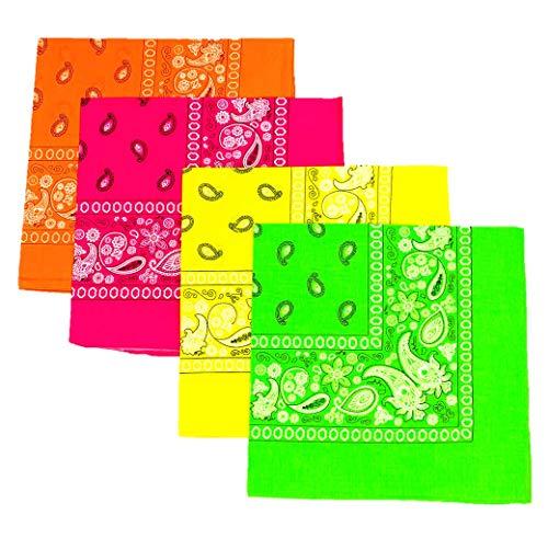 4 Pack van Neon Bandana Sjaals Hoofdband Kostuum Fancy Jurk Roze Groen Oranje Geel
