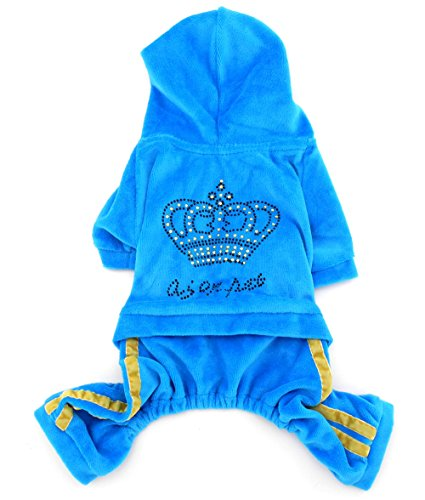 SMALLLEE_LUCKY_STORE Pet Clothes for Small Dog Cat Soft Velvet Crown Jumpsuit Coat Hooide Pajamas Tracksuit Blue XS