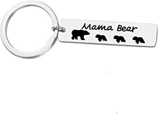 Mama Bear Keychain Sweet Family Personalized Mama Baby Bear Pendant Jewelry for Mother Wife Grandma Mum Mothers Day Gift,Stainless Steel