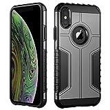 JETech Coque Compatible avec iPhone XS et iPhone X, Housse Double Protection avec Shock-Absorption, Gris