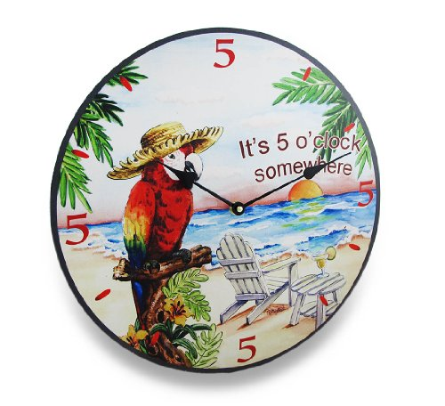 Things2Die4 Its Five O Clock Somewhere Tropical Parrot Wall Clock 15 in.