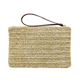 FENICAL Straw Zipper Clutch Bag Bohemian Wristlet Women Summer Beach Purse and Handbag